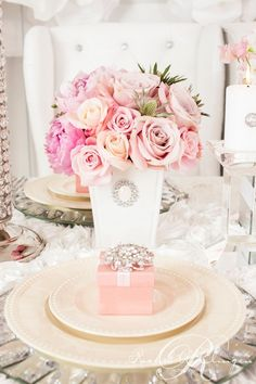 The easiest wedding color to work with is pink in all it's rich shades. They blend perfectly! Luxurious Pink Wedding Shoot by Rachel Clingen Wedding Flower Arrangements, Floral Centerpieces, Wedding Centerpieces, Floral Arrangements, Wedding Flowers, Shower Centerpieces, Wedding Shoot, Wedding Table, Dream Wedding