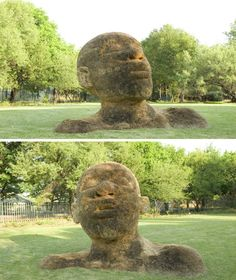 Compressed earth, rocks, grass and metals are transformed into stunning large-scale heads and figures by South African artist Angus Taylor. This particular figure is located on the grass at the Botanical Gardens in Potchefstroom, South Africa. Sculpture Art, Sculptures, Angel Images, Murals Street Art, South African Artists, Land Art, Public Art, Artist Art, Garden Art