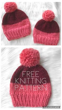 Free beginners knitting pattern for the two-tone chunky beanie - Strickmuster Anleitung Beanie Knitting Patterns Free, Knit Beanie Pattern, Beginner Knitting Patterns, Baby Hats Knitting, Knitting For Kids, Easy Knitting, Knitting For Beginners, Loom Knitting, Crochet Hats