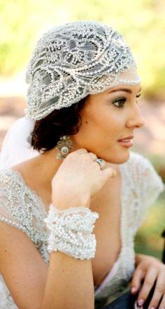 Bride's chignon bun bridal hair Toni Kami Wedding Hairstyles ♥ ❷ Wedding hairstyle ideas  Gatsby bandeau flapper lace veil