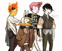 lowlighter - Adventure Time, gender bent, in snazzy outfits.