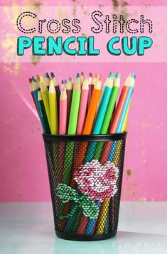 This is a funky embroidery/cross stitch project on an unconventional object, a metal pencil cup! Fun and unique cross stitch. Modern Cross Stitch, Cross Stitch Designs, Cross Stitch Patterns, Cross Stitching, Cross Stitch Embroidery, Hand Embroidery, Cute Crafts, Crafts To Make, Diy Crafts