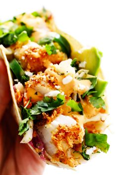 The BEST fish taco recipe! These fish tacos are made with crispy baked Panko-crusted fish, cilantro lime slaw, chipotle crema, avocado, and whatever other toppings you love most! They're also easy to make gluten-free. Best Fish Taco Recipe, Cod Fish Recipes, Seafood Recipes, Gourmet Recipes, Mexican Food Recipes, Cooking Recipes, Healthy Recipes, Ethnic Recipes, Keto Recipes