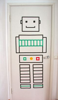 Washi Tape robot for a kids room door :-)