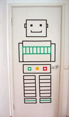 Washi Tape robot for a kids room door :-)