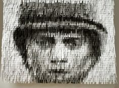 """Christian Faur's Names on Paper,"""" a portrait of an Amercian soldier made from shredded paper printed with 1000 of the most common names of those currently between ages of 18 and font size and kerning renders the various shades. Unusual Art, Unique Art, Paint Chip Art, Newspaper Art, Alternative Art, Clever Design, 3d Design, Paper Book, Portrait Art"""
