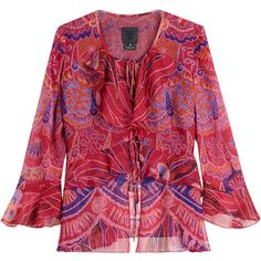 Anna Sui Shell Print Silk Top ($250) ❤ liked on Polyvore featuring tops, pink, 3/4 sleeve tops, double layer top, print top, round neck top and patterned tops