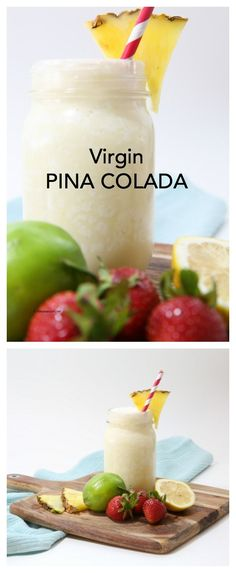 Recipes | Drinks | Virgin Pina Colada Drink Recipe.  Perfect drink for your party or celebration that the entire family can enjoy. Frozen Drink with Coconut and Pineapple!