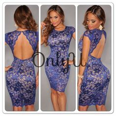 Sexy Women's Plus Size Knee Length Lace Backless Short Evening Party Dress 8-16