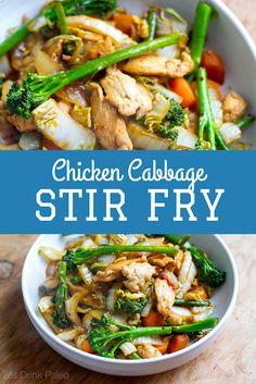 Quick Easy Chicken Cabbage Stir Fry My Delicious Recipes Stir Fried Cabbage Recipes, Napa Cabbage Recipes, Chicken And Cabbage, Chicken Cabbage Stirfry, Cabbage Meals, Chicken Recipes, Keto Stir Fry, Pork Stir Fry, Easy Paleo Dinner Recipes