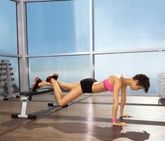 Hammy Helper    Start in plank with toes on bench; place right foot on left calf (as shown). Engage abs and keep arms straight as you bend and lower left knee. Return to start for 1 rep. Do 12 reps. Switch sides; repeat.
