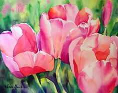 Watercolor Original art featuring nature, flowers, fauna and garden theme by artist, Liana Yarckin Watercolor Cards, Watercolor Flowers, Watercolor Paintings, Watercolors, Painting Inspiration, Flower Art, Art Projects, Pink Tulips, Garden Theme