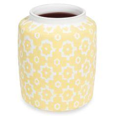 Jarrón de cerámica amarillo con motivos H.22 cm GINO