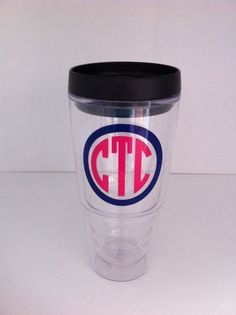 1  Large24 oz  Personalized Acrylic Double wall Tumbler-WITH LID. $16.00, via Etsy.