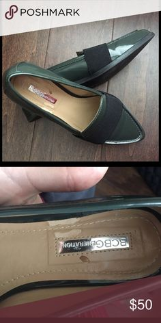 BCBG Loafer Flats- Evergreen Jo Very professional pointed patent loafer flats with black elastic detailing. They are nearly NWOT, when the sticker from the inside one of the shoes was removed, it brought up some of the material. 😩 The good news is, this will not show when wearing them and the outside and the soles of these shoes are pristine with no scuffs or wear. • Pretty much sold out everywhere according to my research. BCBGeneration Shoes Flats & Loafers