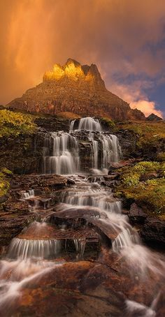 Dawn waterfall on Clements Mountain at Glacier National Park
