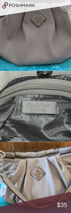 """Simply Vera Wang Chain Link Pleated Hobo Purse Simply Vera Vera Wang Alicia Chain Link Pleated Hobo Purse.  PRODUCT FEATURES:  Color - Gray - 1 Available Silver-tone Hardware Signature Logo Pleated Accents  PRODUCT DETAILS:  Faux Leather Shoulder Strap Magnetic Snap Closure Exterior: 2 Slip Pockets Interior: Zip Pocket & 2 Slip Pockets 10""""H x 16""""W x 5"""" D Drop Down Length: 11""""  Used but in excellent condition.  Nice quality designer brand purse.   Please look at all the photos and feel free…"""
