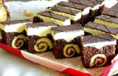 Roláda v zákusku - Recepty, Torty od mamy. Hungarian Desserts, German Desserts, Sweets Recipes, Cookie Recipes, Chocolate Slice, Czech Recipes, Traditional Cakes, Cake Bars, Sweet Cakes