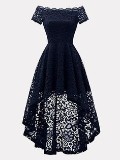 Dressystar 0042 Off Shoulder Hi-Lo Lace Dress Short Sleeve F. - RochiiDressystar 0042 Off Shoulder Hi-Lo Lace Dress Short Sleeve Formal Cocktail Dresses Navy S Brand: Dressystar Note: Please do refer to the size chart below the dress images before Cute Prom Dresses, Grad Dresses, Dresses For Teens, Dance Dresses, Pretty Dresses, Homecoming Dresses, Beautiful Dresses, Maxi Dresses, Casual Dresses