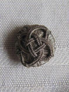 Button 18th C Passementerie Silver Twisted Fabric | eBay