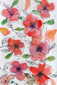 Draw with me : Easy Watercolor Flowers