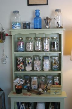 Stock your shelves with Ball jars! The perfect way to organize your craft room.