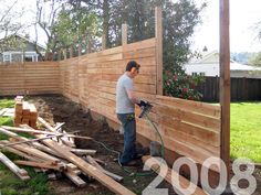 Horizontal fencing. I wonder if we could do this over the brick in our garden area to create a cooler wall?