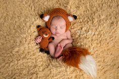 Newborn fox prop set.  Fox hat, tail and stuffie.  Newborn Photography Props Woodland Animal Prop