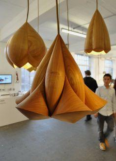 Artistic Wooden Lamp in Unique Geometrical Composition   Flower Lamps