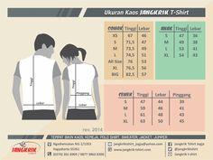 Standar ukuran kaos di Jangkrik T-shirt, #chart #size