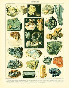 1897-Mineralien-gold-silber-Bernstein Malachit von sofrenchvintage
