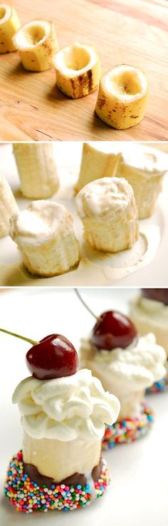 Banana Split Bites. How cute are these? This website has many cool food ideas.