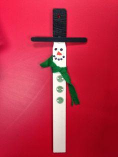 Paint stick snowman ornament