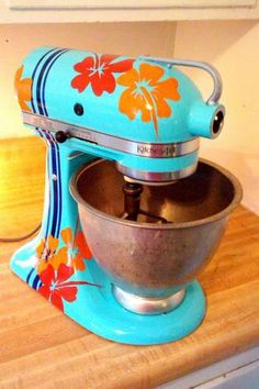 DIY hand-painted KitchenAid mixer.  There is a step-by-step tutorial for you, Katie :)