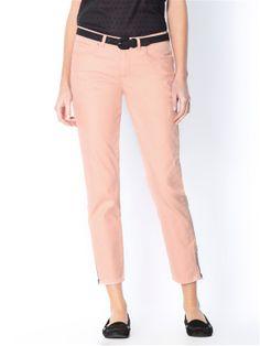 Pantalon 7/8 rose Cyrillus, zip en bas de jambes