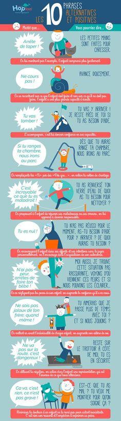 Educational infographic : Bienveillance : les 10 phrases alternatives et positives Baby Education, Education City, French Language, Positive Attitude, Teacher Appreciation, Classroom Management, Kids And Parenting, Parenting Hacks, Activities For Kids