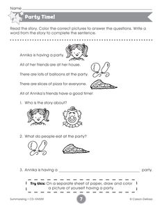 The Party Time activity sheet reinforces fundamental reading comprehension.