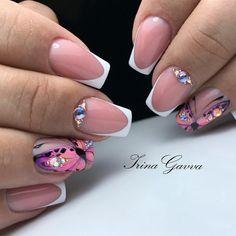Yellow Nail Art, Floral Nail Art, White Nail Art, Disney Acrylic Nails, Cute Acrylic Nails, Ballerina Nails, Luxury Nails, Super Nails, Rhinestone Nails