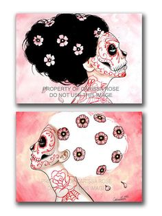 Set Of TWO Separate Day of the Dead Portrait Signed Art Prints - 5x7, 8x10, or Apprx. 11x14 inch Prints - Sugar Skull Home Decor Girly Pink