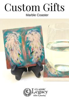Classic Legacy uses YOUR art to create custom personalized gifts.    This marble coaster was created for Holy Angels in Shreveport, LA.   Learn more about how to use YOUR art to create custom gifts. Custom Gift Boxes, Custom Gifts, Customized Gifts, Personalized Gifts, Wine Carrier, Marble Coasters, Wine Bottle Stoppers, Custom Coasters, Shell Jewelry