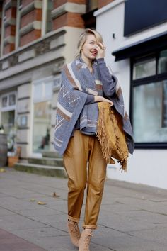 aztec print knits with camel trousers