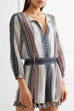 Alice Olivia - Nance Tassel-trimmed Embroidered Cotton-gauze Playsuit - Blue - US