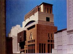 Proposal for an extension to the Whitney Museum, Michael Graves (1934-2015), 1985-9. Article from '89 about Graves' project in the NYTimes by Paul Goldberger that refers to the images of the three...