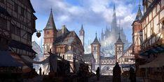 ArtStation Medieval city Jung yeoll Kim City artwork Fantasy city Fantasy landscape