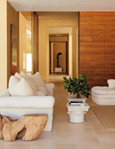 LIMESTONE FLOORS AND WOOD WALLS - Modern Living Room by April Powers via @Kimberly Peterson Gould Digest #designfile
