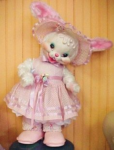 OLD Vintage RUSHTON Star Creations Rabbit Rubber Face Easter Bunny toy doll 60's