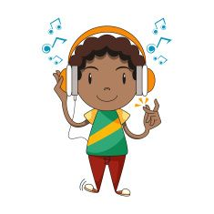 Child using headphones, listening to music vector art illustration