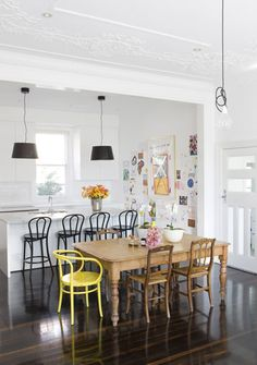 Nicole Bonython's dining room. Beautiful - love how the kitchen is so understated and looks like an extension of the dining room