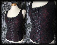 Goth Black Burgundy Lace Up NIGHTSHADE Corset Panel Top 12 14 Victorian Vintage - £24.00