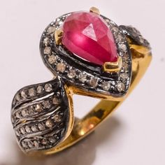 1.30 ct Antique Victorian Rose Cut Diamond Anniversary Ring FREE SHIPPING  Rose Cut Diamond Clarity : I1-I2  Gorgeous Rose Cut Diamond Color : Tinted Brown  Diamond Weight : 1.30 Ct  Silver Purity : 925  Silver Weight : 13 Gms  Gemstone  Additional Stone: Ruby  Ring Size USA : 4 TO 7